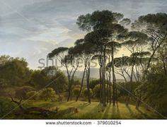 Italian Landscape with Umbrella Pines, by Hendrik Voogd, 1805, Dutch painting, oil on canvas. The sun casts long shadows, and the trees stand out sharply against the sky in the Gardens of the Villa Bo - stock photo