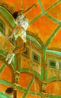 Degas - Miss La La in the Cirque Fernando, 1879 - hanging by her teeth! Degas deliberately cut out the audience and even the trapeze, to focus on the performer, Miss La La, aka Olga Kaira. Billed as La Venus Noire, the African Princess, and the Mulatto of the Cannon (because she was shot out of one), she had a long and successful career. Hard to believe now, it was a bit scandalous that Degas portrayed her so obviously as a person of mixed race.