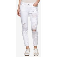 Calvin Klein Jeans Ripped Ankle Skinny Jeans ($90) ❤ liked on Polyvore featuring jeans, white destruction, white jeans, skinny fit jeans, white skinny jeans, white distressed jeans and destructed skinny jeans
