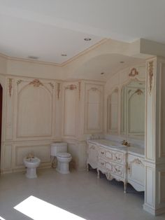 Hand carved Boiserie bathroom. Designed & manufactured by Auffrance.