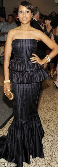 Kerry Washington in J. Mendel Fall 2009 at the 2009 White House Correspondents' Dinner