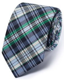 Blue and green silk mix classic check tie