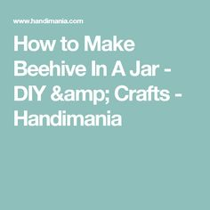 How to Make Beehive In A Jar - DIY & Crafts - Handimania
