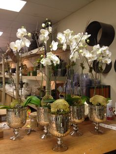 Gorgeous Orchid Arrangements Ideas To Enhanced Your Home Beauty 24 Potted Orchid Centerpiece, Orchid Arrangements, Orchid Wedding Centerpieces, Wedding Flower Decorations, Wedding Flowers, Blue Orchid Wedding, White Orchids, Silk Orchids, Flower Pots