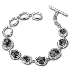 Sterling Silver 7.25 in. Snowflake Jasper and Micro Pave CZ Bracelet 20% off at instylesilverjewelry.com