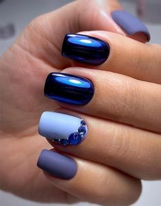 Winter Blues: 38 Awesome Blue Nail Art Designs When it has to do with making nail designs at home, the very first step you ought to take is to prepare your nails for the undertaking. Long nails will always supply you with a good deal of room to wo Purple Nail Designs, Winter Nail Designs, Nail Art Designs, Nails Design, Blue Nails With Design, Dark Blue Nails, Purple Nails, Nail Art Blue, Cobalt Blue Nails