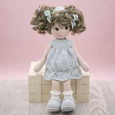 Amigurumi crochet DOLL Sweet cuddly doll with knitted dress