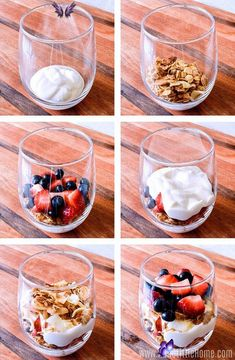 Easy Yogurt Parfait  <br> Wake up to this delicious, healthy Yogurt Parfait with fresh berries and granola! Breakfast For A Crowd, Healthy Breakfast Recipes, Easy Healthy Recipes, Breakfast Parfait, Easy Meals, Brunch Recipes, Blueberry Breakfast, Greek Yogurt Recipes Breakfast, Mason Jar Breakfast