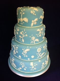 Wedgewood Style Wedding Cake  Simply Gorgeous....  Done by   Martin Brown from Cakes We Bake Community