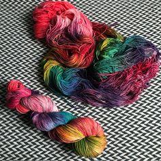 Hand-dyed yarn, Indie dyed yarn, hand dyed yarn DUSK RAINBOW -- ready to ship -- Times Square sock merino/ nylon yarn