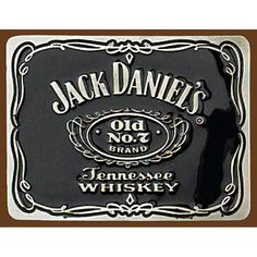 Mens Ladies Jack Daniels Square Pewter & Enamel Belt Buckle