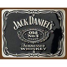 Mens Ladies Jack Daniels Square Pewter & Enamel Belt Buckle