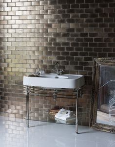 Beautiful nickel finished floor stand for a sleek bathroom finish - 1200mm basin with overflow & basin stand with double basin & overflows from Arcade Bathrooms. http://www.arcadebathrooms.com/Products/ProductDetail?prodId=80060&name=1200mm%20basin%20with%20overflow%20%26%20basin%20stand%20with%20double%20basin%20%26%20overflows