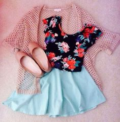 Floral crop top and mint-green skirt.