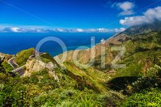 Qdiz Stock Photos | Green mountains clouds over peak and ocean,  #Atlantic #background #blue #Canary #cloud #day #green #horizon #island #landscape #mountain #nature #ocean #rock #scenic #sea #sky #Spain #spring #Tenerife #view