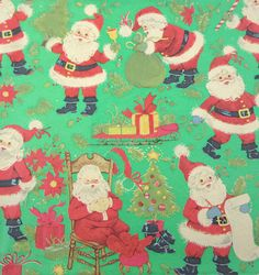 Vintage Christmas Wrapping Paper or Gift Wrap with Santa Claus Sled Trees Presents Poinsettias on Green Background