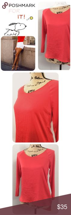 Coral 3/4 Sleeve Top❤️ Stylish, comfy & Super soft Coral Top. 3/4 sleeves, new with tags. Front 100% Polyester, Back is 95% Rayon, 5% Spandex. The Limited Tops