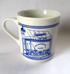 Entenmann's Bakery Mug Blue White Bake Shop Pastry Food Advertising Coffee Cup #EntenmannsBakery