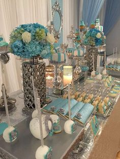 Awesome white,blue and silver baby shower! | CatchMyParty.com