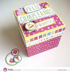 Caja explosiva con papel de scrapbooking de Anita y su mundo, colección Fiesta