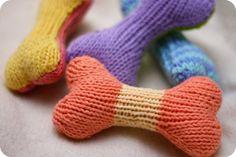 knit dog bone toy