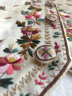Buttons and skirt of a waistcoat embroidered with a leaves and flowers, 1780-90, in the Wade collection. ©National Trust