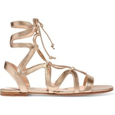 Gianvito Rossi Lace-up metallic leather sandals ($745) ❤ liked on Polyvore featuring shoes, sandals, gold, tie shoes, metallic sandals, gianvito rossi shoes, leather shoes and metallic gladiator sandals