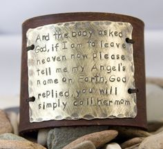 Leather bracelet Cuff, and the baby asked god, mother quote cuff. $40.00, via Etsy.