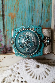 Silver Rodeo COWGIRL Concho TURQUOISE Patina on White Western Leather Cuff Bracelet ~ #Cowgirl #Rodeo #HorseRider #Western #Country #Rustic by BellaNotteDesigns on Etsy