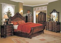 Jasper Luxury King Cherry Sleigh Bed 5piece Bedroom Furniture Set w/ Marble Tops