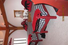 another guest bedroom. vintage cannonball beds painted red.