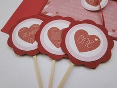 Valentine's Day Heart Cupcake Toppers for Birthday or Shower - Made to Order. $15.00, via Etsy.
