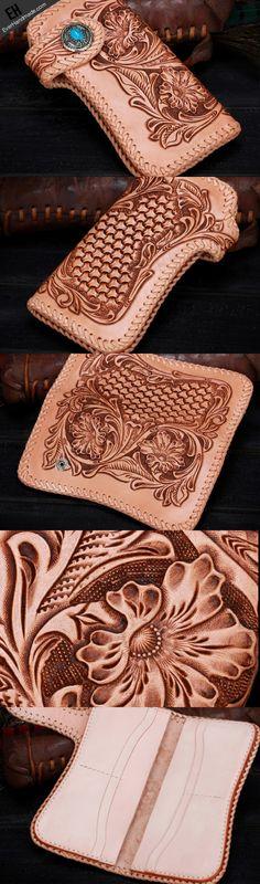 Handmade leather biker trucker beige floral wallet leather chain men Black