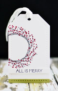 creation de noel I used a very similar stamp in the same way - running off the side of the tags. Watercolor Christmas Cards, Diy Christmas Cards, Christmas Gift Wrapping, Xmas Cards, All Things Christmas, Handmade Christmas, Christmas Crafts, Printable Christmas Cards, Christmas Christmas
