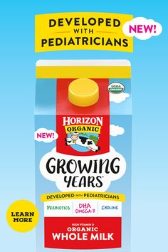 Meet Horizon® Growing Years™ organic whole milk! We partnered with pediatricians to identify key nutrients for growing kids, ages 1 to Vitamin D, Tiny House, Milk, Nutrition, Organic, Key, Learning, Drinks, Unique Key