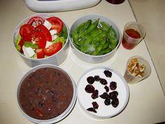 mr. bento - black bean soup and salad