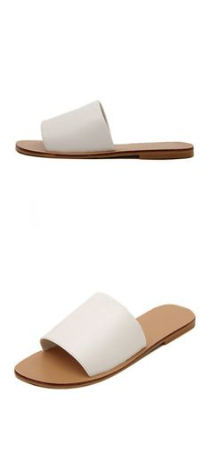 White Open Toe Leather Upper Flat Slippers. Casual outfit pieces for summer. Love the casual style this flat slippers give me. Two colors at shein.com.