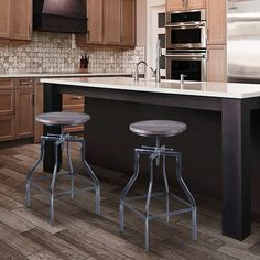 Armen Living Concord Adjustable Barstool in Industrial Grey Finish with Ash Pine Wood Seat Industrial Bar Stools, Metal Bar Stools, Swivel Bar Stools, Condo Furniture, Dining Furniture, Furniture Ideas, Furniture Design, Modern Home Bar, All Modern