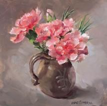 Pink Carnations - small square flower blank card by Anne Cotterill