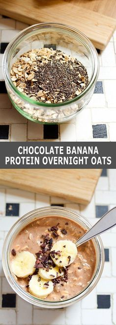 Get ahead of the breakfast game with these chocolate banana protein overnight oats. It will almost feel like dessert for breakfast!