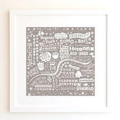 London Map Print - Warm Grey £10.00