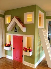 Would you ever consider having an indoor playhouse? How about A two story indoor playhouse? Indoor Playroom, Kids Indoor Playhouse, Backyard Playhouse, Living Room Plan, Living Rooms, Build A Playhouse, Closet Playhouse, Inside Playhouse, Castle Playhouse