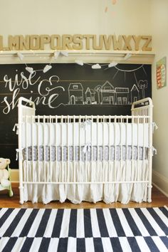 Schoolhouse-themed Nursery featuring an Alphabet Shelf + Chalkboard Wall - Project Nursery