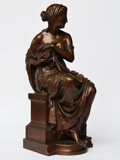 E.-A. Aizelin Original Bronze Skulptur Pandora signiert 1873 Barbedienne H. 44cm