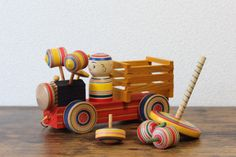 Japanese vintage traditional folk toy KOMA with Kokeshi truck and 8 detachable Koma vintage spinning top toy home deco or toy collectibles Vintage Gifts, Vintage Decor, Etsy Vintage, Vintage Toys, Vintage Style, Antique Collectors, Antique Stores, Japanese Toys, Vintage Japanese