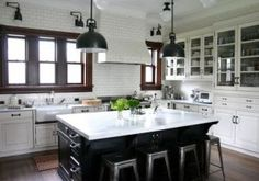 Kitchen ideas - myLusciousLife.com - black and white kitchen with overhead lights.jpg