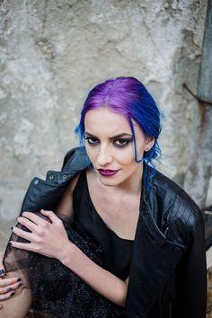 #sarao #saraobarcelona #wildbride #bluehair #velvethair #purple #leatherjacker #fashion #rebel #rebelious #troublemaker