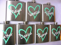 Bridesmaid flask, 6 ounce, stainless steel personalized flask.  Bridesmaid and Maid of honor gift.  Pink and mint heart design. $12.00, via Etsy.