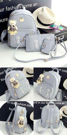a3b94ce69af I like this backpack ! Lovely Cartoon Cats Printing PU Backpack Gift  Shoulder Bag Leisure Large
