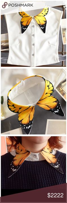 """Monarch Butterfly Stretch Faux Shirt Collar ‼️ PRICE FIRM ‼️ 10% DISCOUNT ON 2 OR MORE ITEMS FROM MY CLOSET ‼️   Monarch Butterfly Collar Retail $59 NEW WITH TAGS   ABSOLUTELY MAGNIFICENT!!!  I so love these. Stretch side bands. 100% polyester.   Bust up to around 44"""" Collar 16"""" buttoned Length 13"""" Accessories"""